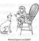 Vector Clip Art of Retro Boy Playing a Horn in a Chair As a Dog Barks Along by Prawny Vintage