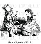 Vector Clip Art of Retro Boy Playing Doctor with a Girls Doll by Prawny Vintage