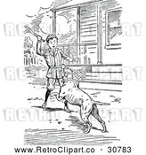Vector Clip Art of Retro Boy Playing Fetch with a Dog by Prawny Vintage