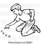 Vector Clip Art of Retro Boy Playing with Marbles in by Picsburg
