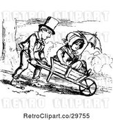 Vector Clip Art of Retro Boy Pushing a Girl in a Wheelbarrow by Prawny Vintage