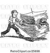 July 19th, 2018: Vector Clip Art of Retro Boy Pushing a Guy in a Stack of Paperwork by Prawny Vintage