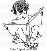Vector Clip Art of Retro Boy Reading and Sitting by Prawny Vintage