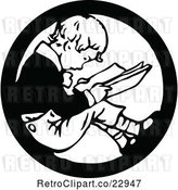 Vector Clip Art of Retro Boy Reading in a Circle by Prawny Vintage