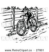 Vector Clip Art of Retro Boy Riding a Bike in the Country by Prawny Vintage