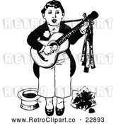 Vector Clip Art of Retro Boy Singing and Playing a Guitar by Prawny Vintage