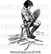 Vector Clip Art of Retro Boy Sitting on a Stool with a Broom by Prawny Vintage
