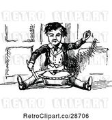 Vector Clip Art of Retro Boy Sitting with a Pie by Prawny Vintage