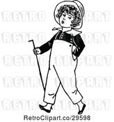 Vector Clip Art of Retro Boy Walking with a Cane by Prawny Vintage