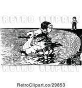 Vector Clip Art of Retro Boy Watching a Girl Ride a Duck by Prawny Vintage