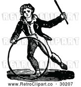 Vector Clip Art of Retro Boy with a Hoop and Wand by Prawny Vintage