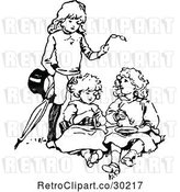 Vector Clip Art of Retro Boy with Two Girls and Glasses by Prawny Vintage