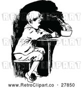 Vector Clip Art of Retro Boy Writing by Prawny Vintage