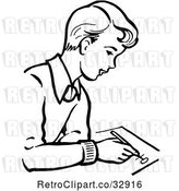 Vector Clip Art of Retro Boy Writing in by Picsburg