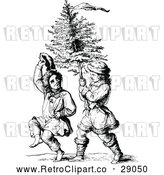 May 9th, 2018: Vector Clip Art of Retro Boys Carrying a Christmas Tree by Prawny Vintage