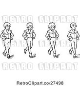 Vector Clip Art of Retro Boys Dancing by Prawny Vintage