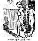 Vector Clip Art of Retro Boys Entering a House by Prawny Vintage