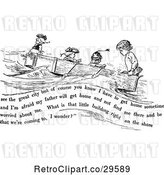 Vector Clip Art of Retro Boys in a Boat with Text by Prawny Vintage