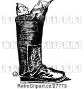 Vector Clip Art of Retro Boys in a Boot by Prawny Vintage
