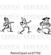 Vector Clip Art of Retro Boys Running from an Officer by Prawny Vintage