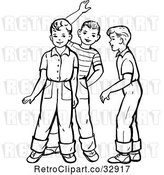 Vector Clip Art of Retro Boys Talking and Waving in by Picsburg