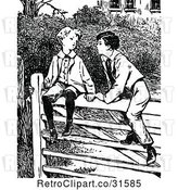 Vector Clip Art of Retro Boys Talking on a Fence by Prawny Vintage