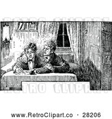 Vector Clip Art of Retro Boys Wriring a Letter by Prawny Vintage