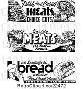Vector Clip Art of Retro Bread and Meat Grocery Signs by BestVector