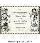 Vector Clip Art of Retro Bride and Groom in a Border over Paper with Sample Text by BestVector
