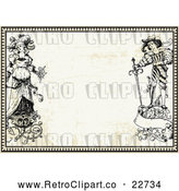 Vector Clip Art of Retro Bride and Groom with Floral Designs in a Border over Paper by BestVector