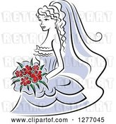 Vector Clip Art of Retro Bride in a Periwinkle Dress, with Red Flowers by Vector Tradition SM