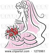 Vector Clip Art of Retro Bride in a Pink Dress, with Red Flowers by Vector Tradition SM