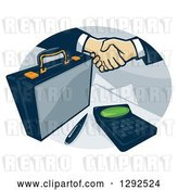 Vector Clip Art of Retro Briefcase and Handshake with a Calculator in an Oval by Patrimonio