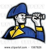 Vector Clip Art of Retro British Admiral Looking Through a Telescope Spyglass by Patrimonio