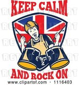 Vector Clip Art of Retro British Granny Drummer over a Shield with Keep Calm and Rock on Text by Patrimonio