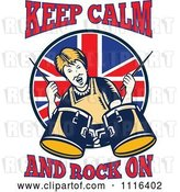 Vector Clip Art of Retro British Granny Drummer with Keep Calm and Rock on Text by Patrimonio