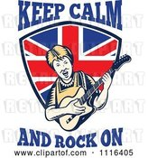 Vector Clip Art of Retro British Granny Guitarist over a Shield with Keep Calm and Rock on Text by Patrimonio