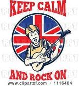 Vector Clip Art of Retro British Granny Guitarist with Keep Calm and Rock on Text by Patrimonio