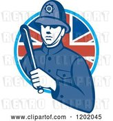 Vector Clip Art of Retro British London Bobby Police Officer with a Truncheon in a Union Jack Flag Circle by Patrimonio