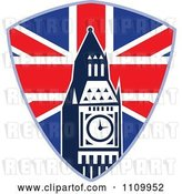 Vector Clip Art of Retro British Union Jack Shield and Big Ben Clock Tower by Patrimonio