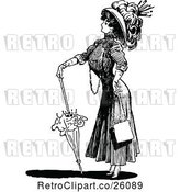 Vector Clip Art of Retro Brolly Lady 2 by Prawny Vintage