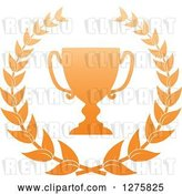 Vector Clip Art of Retro Bronze Championship Trophy Cup in a Wreath by Vector Tradition SM