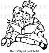 Vector Clip Art of Retro Brother and Sister Reading by Prawny Vintage