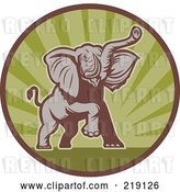 Vector Clip Art of Retro Brown and Green Elephant Logo by Patrimonio