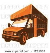Vector Clip Art of Retro Brown and Orange Toned Delivery Van or Moving Truck by Patrimonio