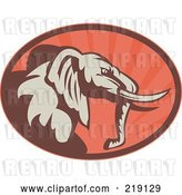 Vector Clip Art of Retro Brown and Red Elephant Logo by Patrimonio
