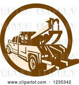 Vector Clip Art of Retro Brown and Tan Tow Truck in a Circle by Patrimonio