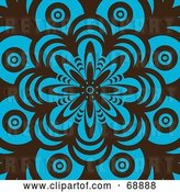 Vector Clip Art of Retro Brown and Turquoise Flower Pattern Background by Michaeltravers