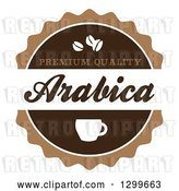 Vector Clip Art of Retro Brown and White Arabica Coffee Label by Arena Creative