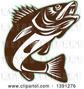 Vector Clip Art of Retro Brown and White Walleye Fish Jumping, with a Green Outline by Patrimonio